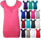 NEW WOMENS SHORT CAP SLEEVE GATHERED T-SHIRT LADIES PLAIN ROUND NECK STRETCH TOP