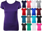 WOMENS NEW PLAIN STRETCH FIT CREW NECK TOP LADIES SHORT CAP SLEEVE BASIC T-SHIRT
