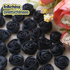 Black 15mm Polyester Rose Trimming Sewing Scrapbooking Appliques HB15-30