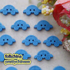 Blue Car 17mm Wood Buttons Sewing Scrapbooking Craft NCB020
