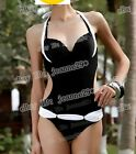 New s3 Padded Push Up Underwired Halter Swimwear UK6-14 Swimsuit Monokini Bikini