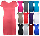 WOMENS SHORT CAP SLEEVE LONG T-SHIRT TOP LADIES NEW PLAIN BODYCON FITTED DRESS