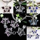 Butterfly Dangle Charms Pendant Beads Crystal Rhinestone Gem Fit European Chains