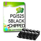 5 PGI-525BK NON-OEM CHIPPED Ink Cartridges REPLACE for PIXMA Printers