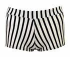 Womens Casual Trendy Stripe Print Elasticated Waistband Shorts Sizes UK 8