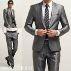 New Mens Fashion Luxury Stylish Slim Fit One Button Suit XZ03  5 Size Gray