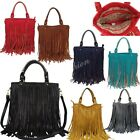 Ladies Cowgirl Style Fringe Faux Leather Tassey Shoulder Bag With Long Strap