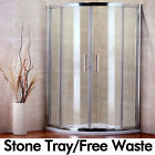 NEW QUADRANT SHOWER ENCLOSURE WALK IN CUBICLE SCREEN GLASS DOOR + STONE TRAY
