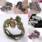 8 Styles Selectable Lizard Chameleon Crystals Beaded Cuff Bangle Bracelet