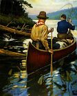 Phillip R Goodwin Untitled Two Men Fishing in Canoe  - Stretched Giclee Canvas