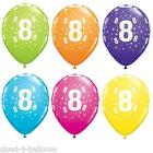 """5 Qualatex 11"""" Helium Quality 8th Birthday Party Balloons Age 8 Many Colours"""