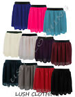 19A-WOMENS PLAIN CHIFFON SHEER OVERLAY LINED SHORT MINI SKIRT-UK SIZES 8-26