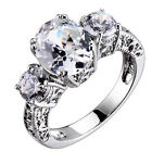 Sterling Silver 3 Stones Oval/Round Cubic Zirconia Vintage Bridal Wedding Ring