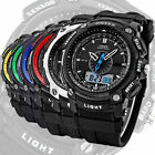 OHSEN LCD Dual Core Mens Lady Sport Date Day Stopwatch Black Rubber Wrist Watch