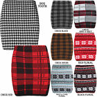 NEW LADIES WOMENS KNITTED TARTAN MINI BODYCON CASUAL SHORT WARM SKIRT SIZE 8-14