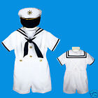 D1 New Nautical Sailor Costume White Suit Tuxedo for Baby Boy S M L XL 2T 3T 4T
