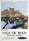 Isle of Man, Peel Castle. Vintage BR Travel Poster print by Charles Pears. 1949.