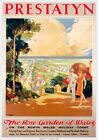 Prestatyn The Rose Garden of Wales Denbighshire. LMS Vintage Travel Poster print