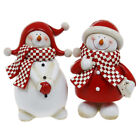 Christmas Gingham Snowman Standing Figurine Ornament Gift Statue New Boxed