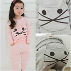 2016 Spring Girls Boys Baby Child Kids Coat+Hips Cute Cats Trousers Sets 2-6Y
