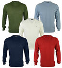 New FARAH Men's V-Neck Thin Knit Jumper Blue Green Red & White Top