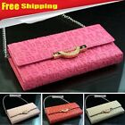 NEW Womens Evening Clutch bag PU Leather Handbag Purse Tote Bag Wallet