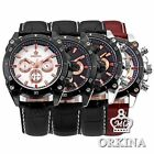Orkina Mens Man 4 Colors Stopwatch 24hrs Leather Sport Quartz Wrist Watch Gift