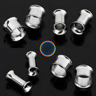 Pair/Lot 3-14mm Stainless Steel Tunnels Ear Flesh Plug Gauges Piercing Earrings