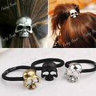 Skull Heard Punk Hair Rope Clip Elasticity Stretchy Black Silver Brass FBFJ101