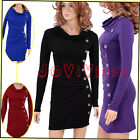 Sexy Lady Women's Cowl Neck Button Embellished Ruched Slim Cocktail Party Dress