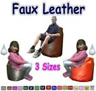 Faux Leather Bean Bags For Kids & Adults Come Filled With Beads 3 Sizes