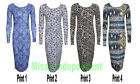 New Womens Butterfly Flower Swirl Print Long Sleeve Bodycon Midi Maxi Dress 8-14