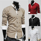 PJ Korean Mens Slim Business Party Formal Dress Shirts Casual Shirts IN XS S M L