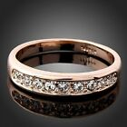 Clear Crystals NEW rose gold GP ladies wedding engagement fashion ban ring