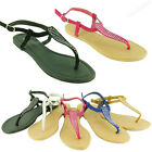New Womens Gladiator Flat Sandals Dressy Roman Thong Flip Flops Style Size