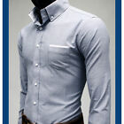 ckstore -New arrival Mens slim fit casual basic 2 Button oxford gray shirts