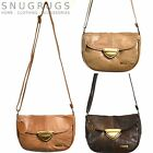 LADIES LEATHER SHOULDER BAG HANDBAG with fold over flap BROWN/FAWN/TAN