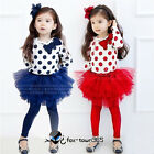 New Kid Girls Blue/Red Dots Top And Tutu Skirt Leggings Outfit/Sets sz 2-7Y