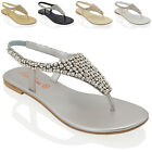 LADIES FLAT TOE POST WOMENS DIAMANTE PEARL HOLIDAY DRESSY PARTY SANDALS SIZE 3-9