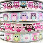 "7/8""22mm Colorful Owl Bird Cartoon Grosgrain Ribbon Craft For Hair Bow Sewing"