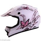 YOUTH MATTE WHITE PINK MOTOCROSS MOTORSPORT ATV DIRT BIKE HELMET DOT S/M/L/XL