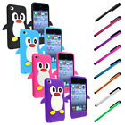 Black Pink Purple Penguin Silicone Soft Case For iPod Touch 4 4G 4th Gen+Stylus