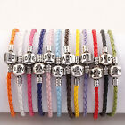 Colorful PU Leather Snake Braided Clasp European Bracelet Chain Fits Charm Beads