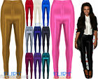 Womens Disco Pants Wet Look Shiny High Waist Button Jeggings Full Length Trouser