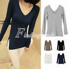 NEW Sexy Women's V-Neck Long Sleeve T-Shirt Modal Top Tops Basic Tee Wholesale