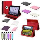 Black/White/Pink/Red/Purple 360 Degree/Leather Case+Pen For iPad 2 3 4 &New iPad