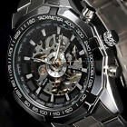 2 Colors Stainless Steel Mens Skeleton Automatic Mechanical Wrist Watch Gift