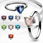 "1 PC 14g 1/2"" Captive Bead Ear Nipple Navel Belly Ring Heart  CZ Gem UPick Color"