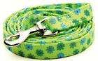 Dog Leash Lead - Lime Green & Blue Blossom Fabric Cotton & Acrylic by Dixie Digs