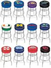 Choose NCAA K-O Team L7C1 Chrome Double-Ring Swivel Bar Stool w / 4 Cushion Seat